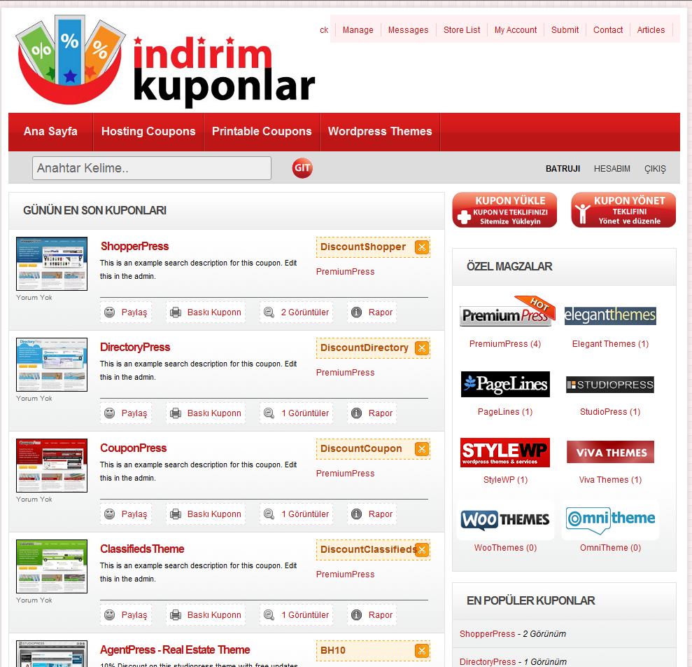 index page indirimkuponlar wordpress