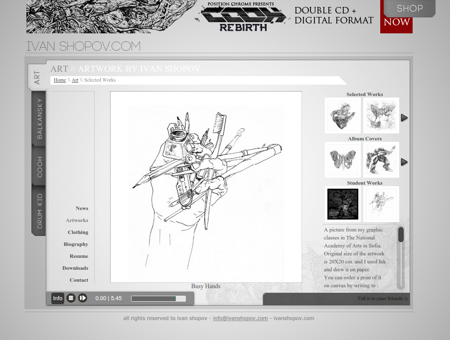 screenshot-ivanshopov.com art section
