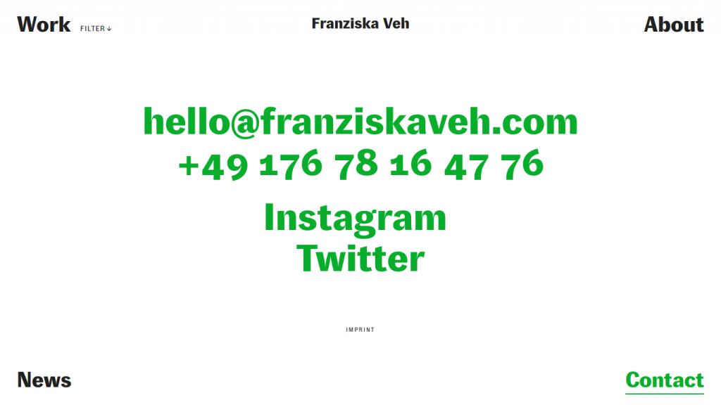 Franziska Veh Contact page